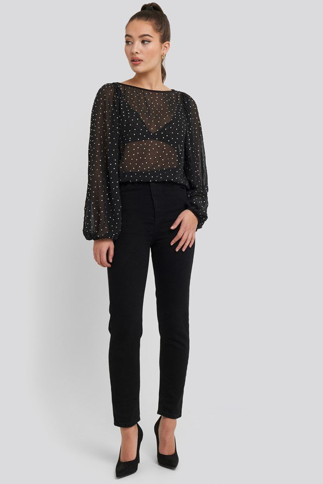 Stone Printed Blouse Black