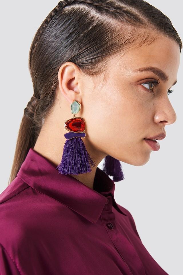 Stone Tassel Earrings Purple
