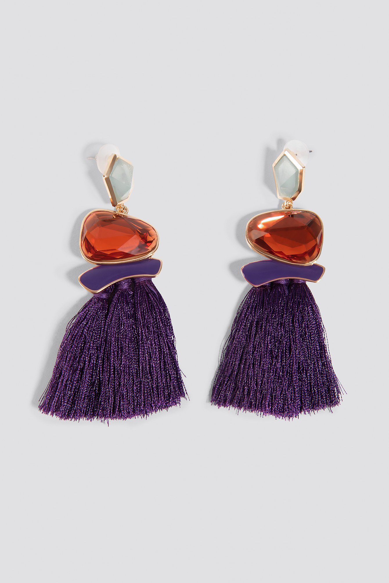 trendyol -  Stone Tassel Earrings - Purple