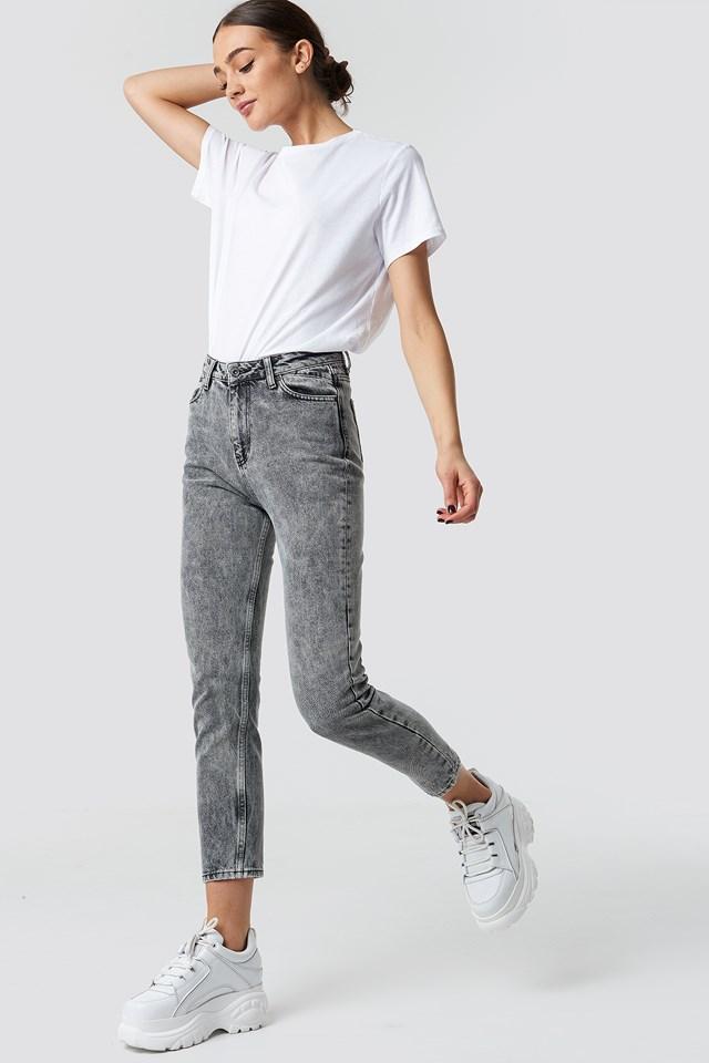 Stonewashed Mom Jeans Grey