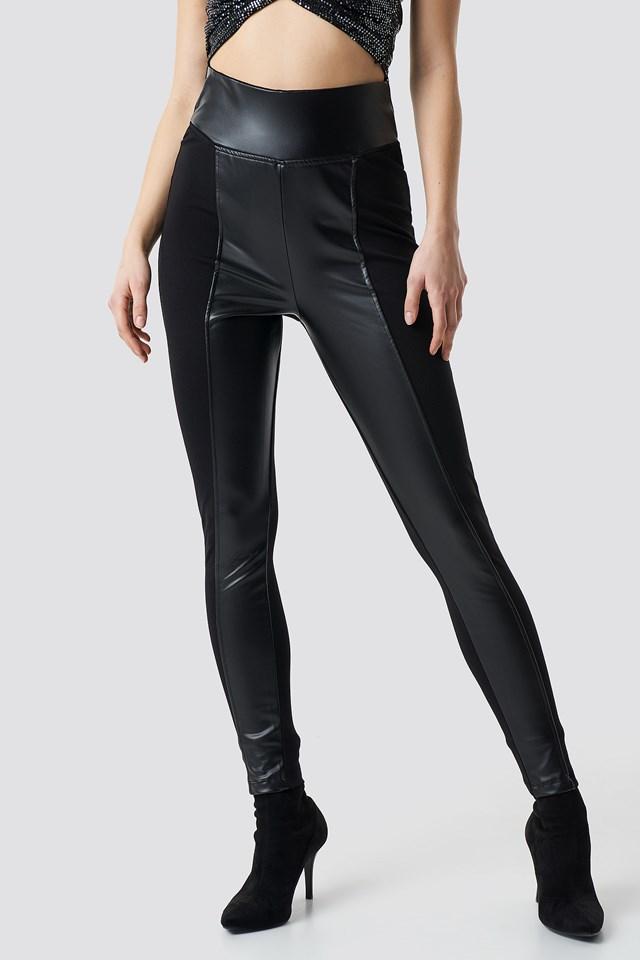 Straight PU Pants Black