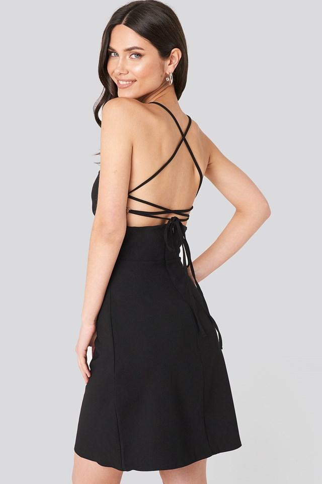 Strap Back Detailed Mini Dress Black