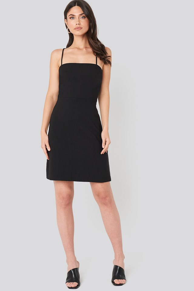 Strap Back Detailed Mini Dress Black