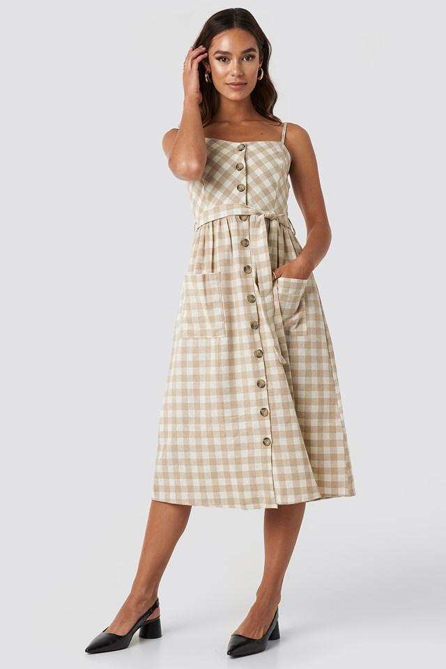 Strap Button Detailed Dress Camel