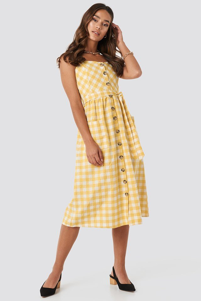 Strap Button Detailed Dress Mustard