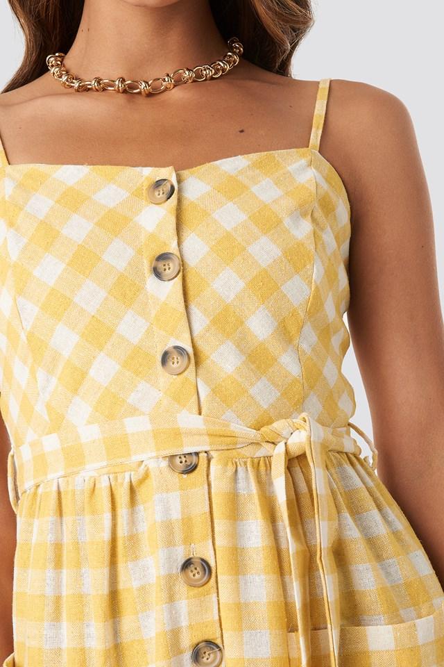 Strap Button Detailed Dress Mustard