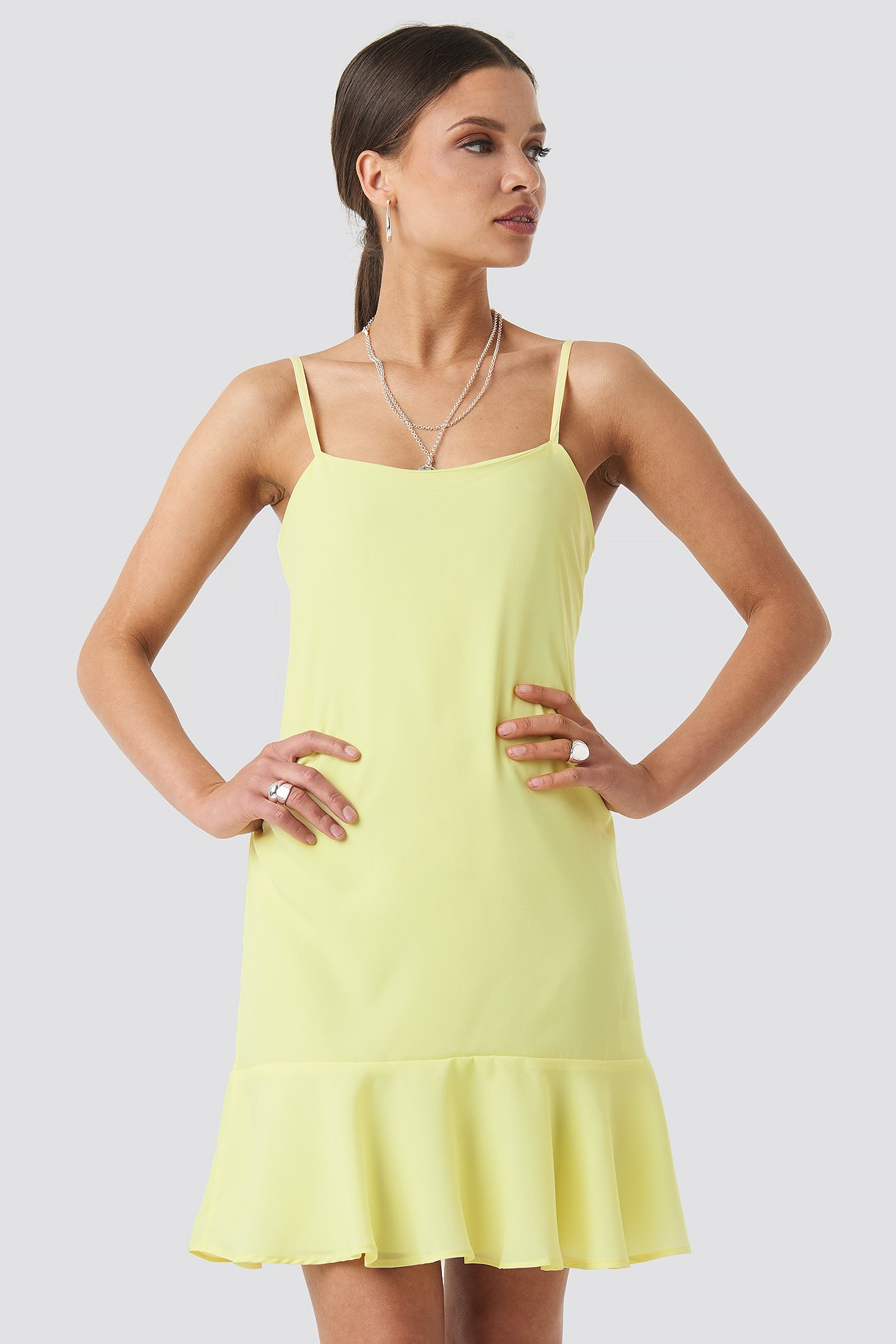 trendyol -  Strap Mini Dress - Yellow