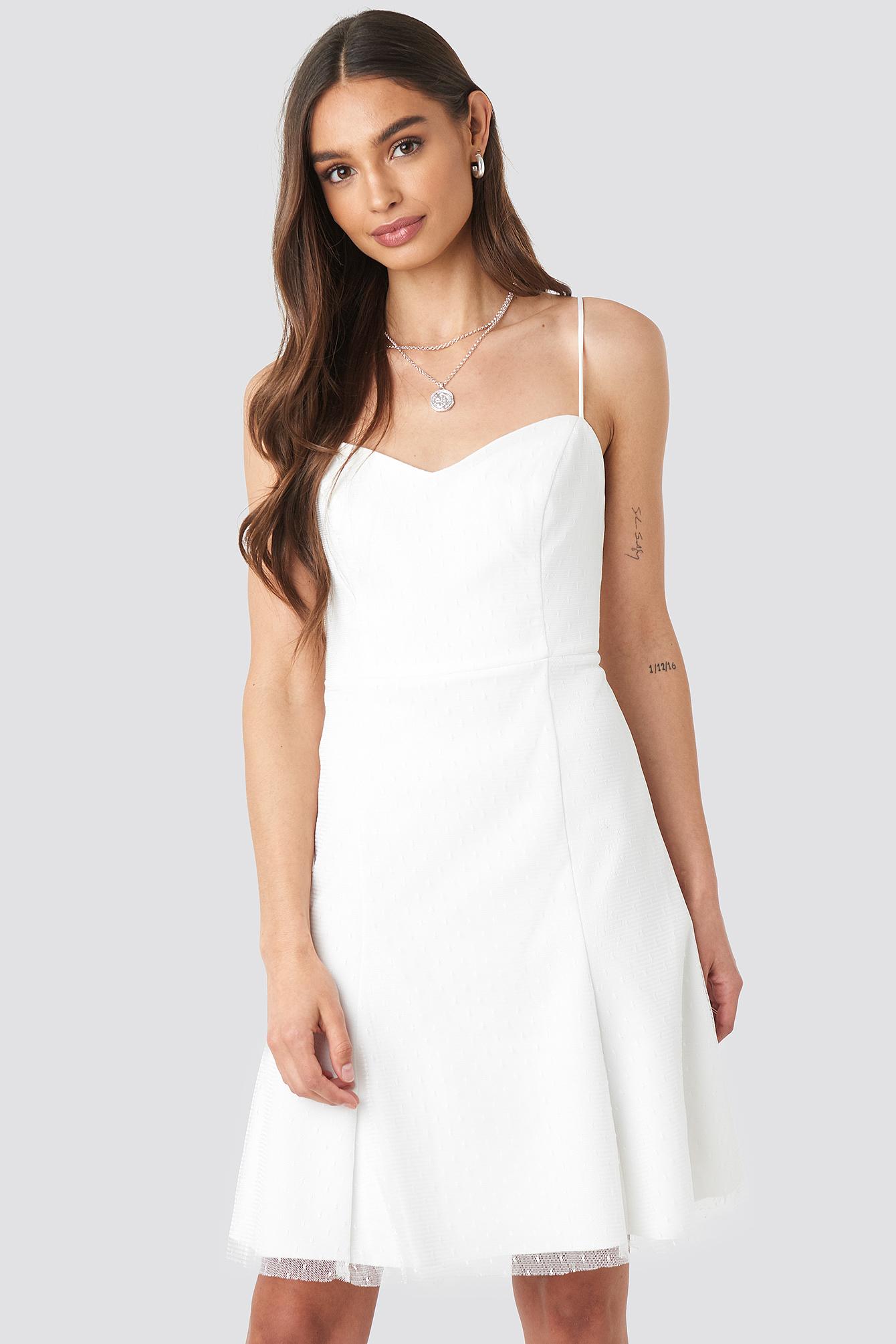 trendyol -  Strap Tulle Detailed Dress - White