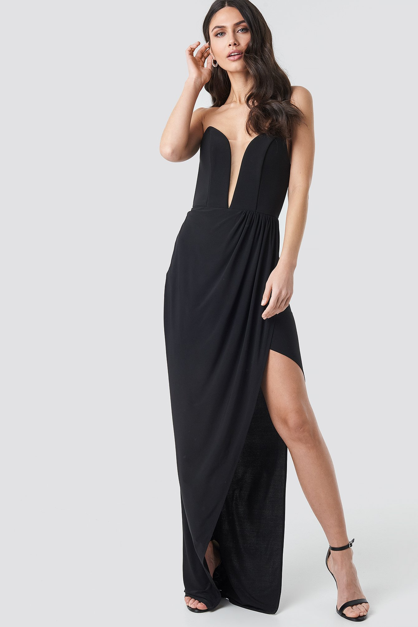 Black Strapless Evening Dress Gown