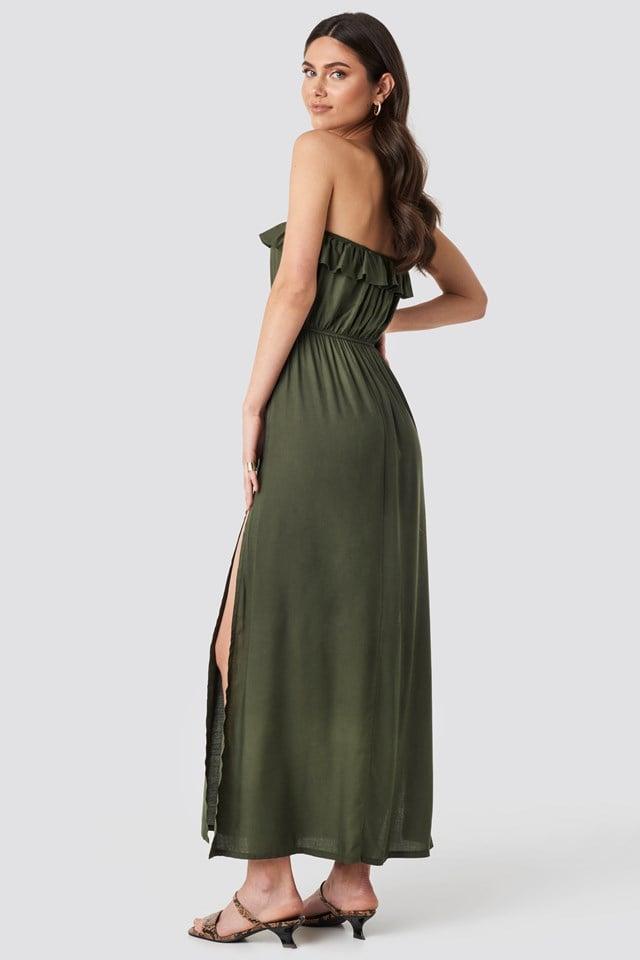 Strapless Frilly Viscose Beach Dress Khaki