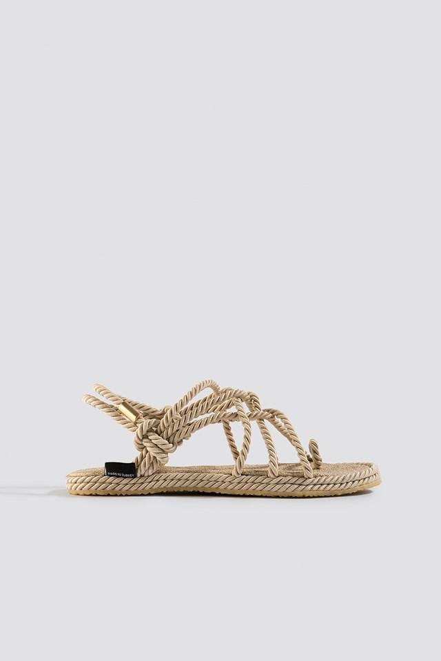 Straw Sandals Beige