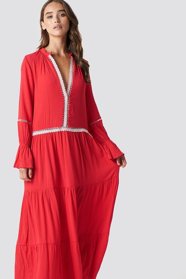 Stripe Accessory Detail Maxi Dress Red