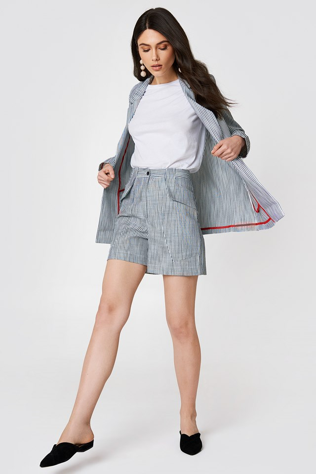 Stripe Detailed Shorts Grey