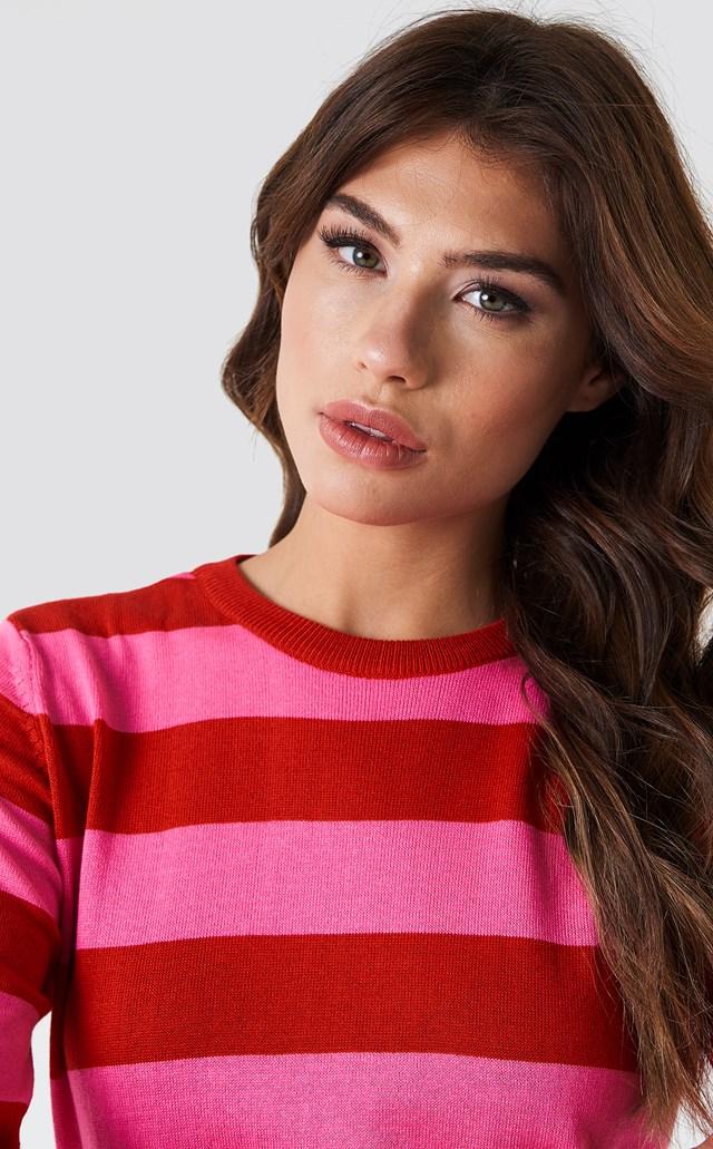 Stripe Side Slit Sweater Pink