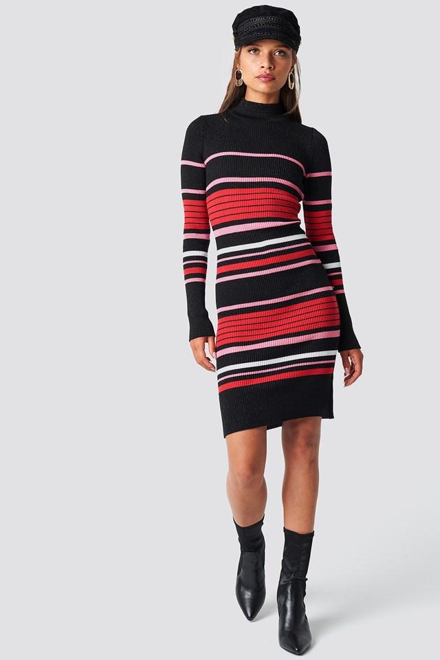 Stripe Sweater Midi Dress Black