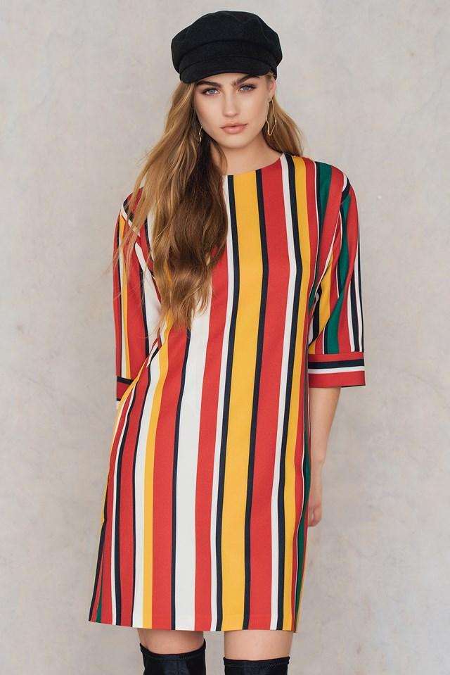 Stripe Wide Dress Red