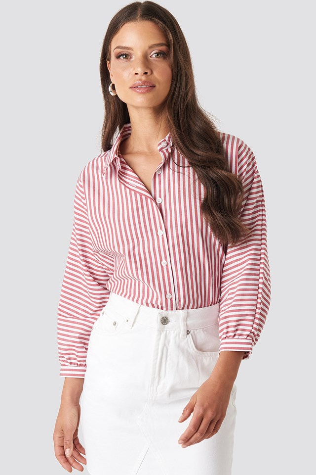 Striped Balloon Sleeve Shirt Trendyol
