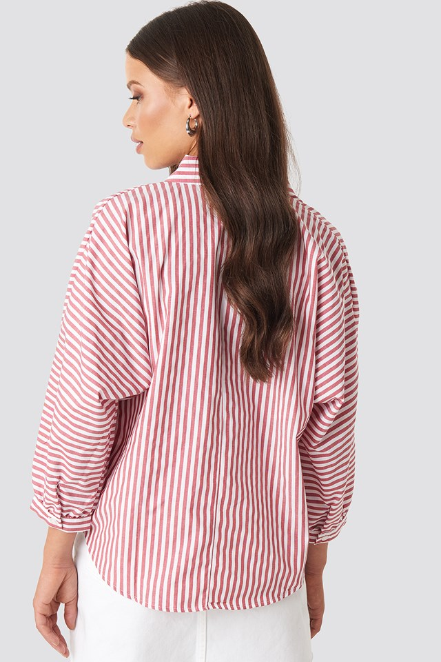 Striped Balloon Sleeve Shirt NA-KD.COM
