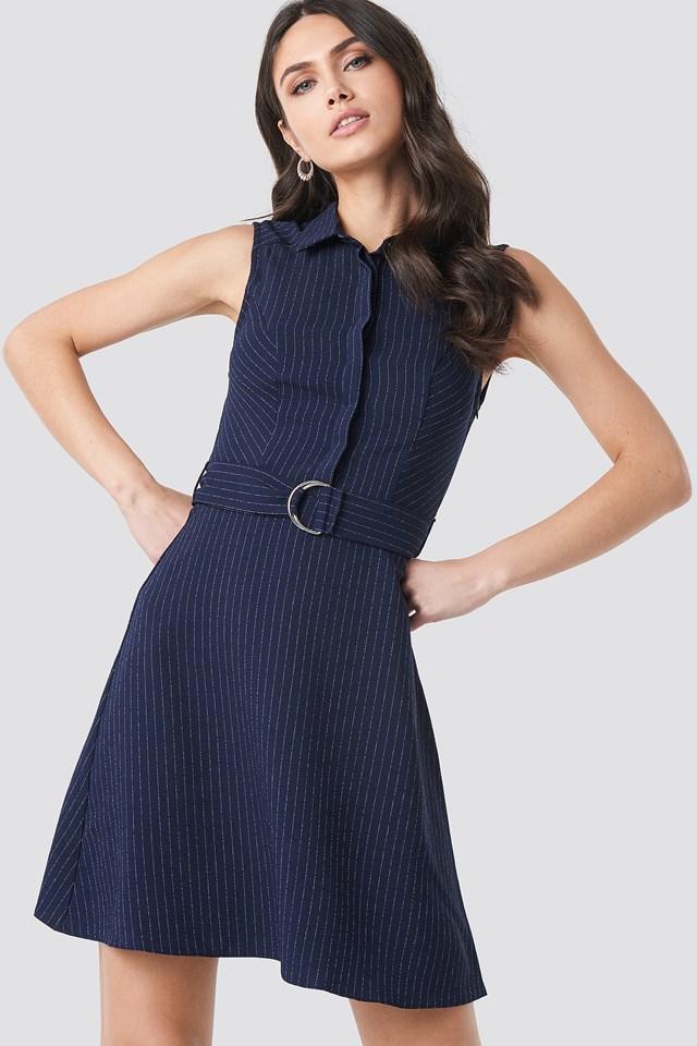 Striped Belt Detailed Mini Dress Navy