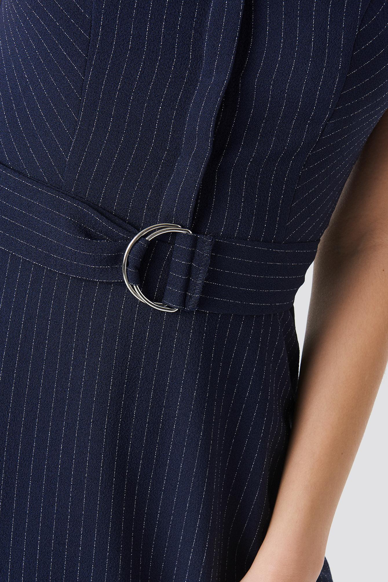 Striped Belt Detailed Mini Dress NA-KD.COM