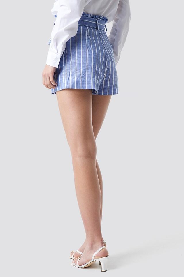 Striped Belt Shorts Blue