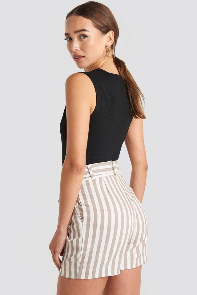 Striped Belted Shorts Beige