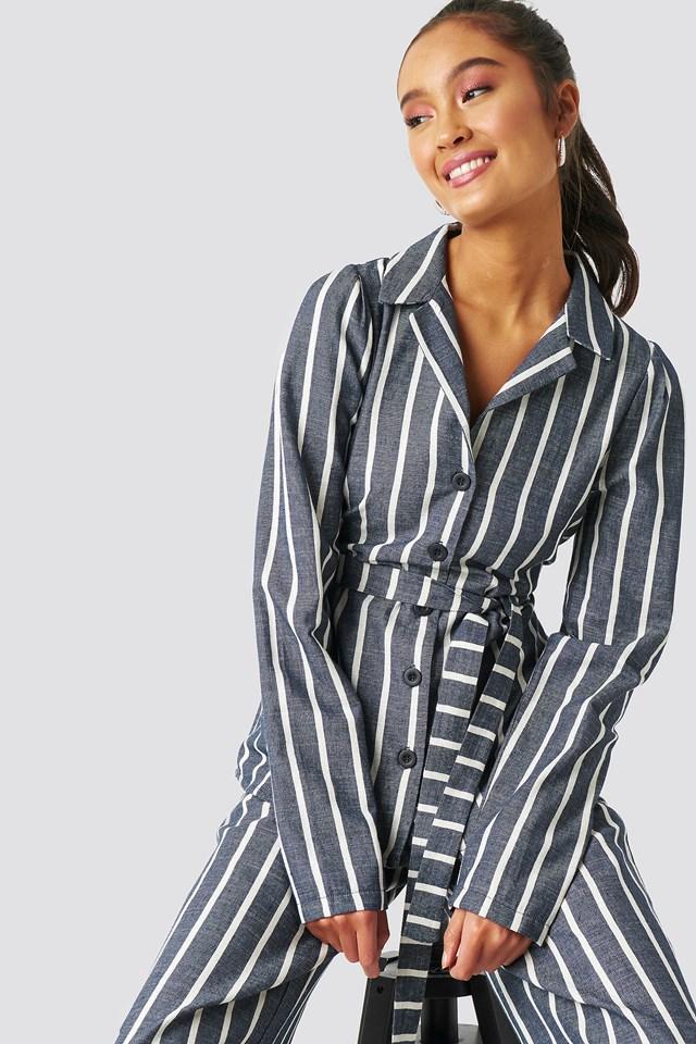 Striped Binding Detailed Blazer Blue