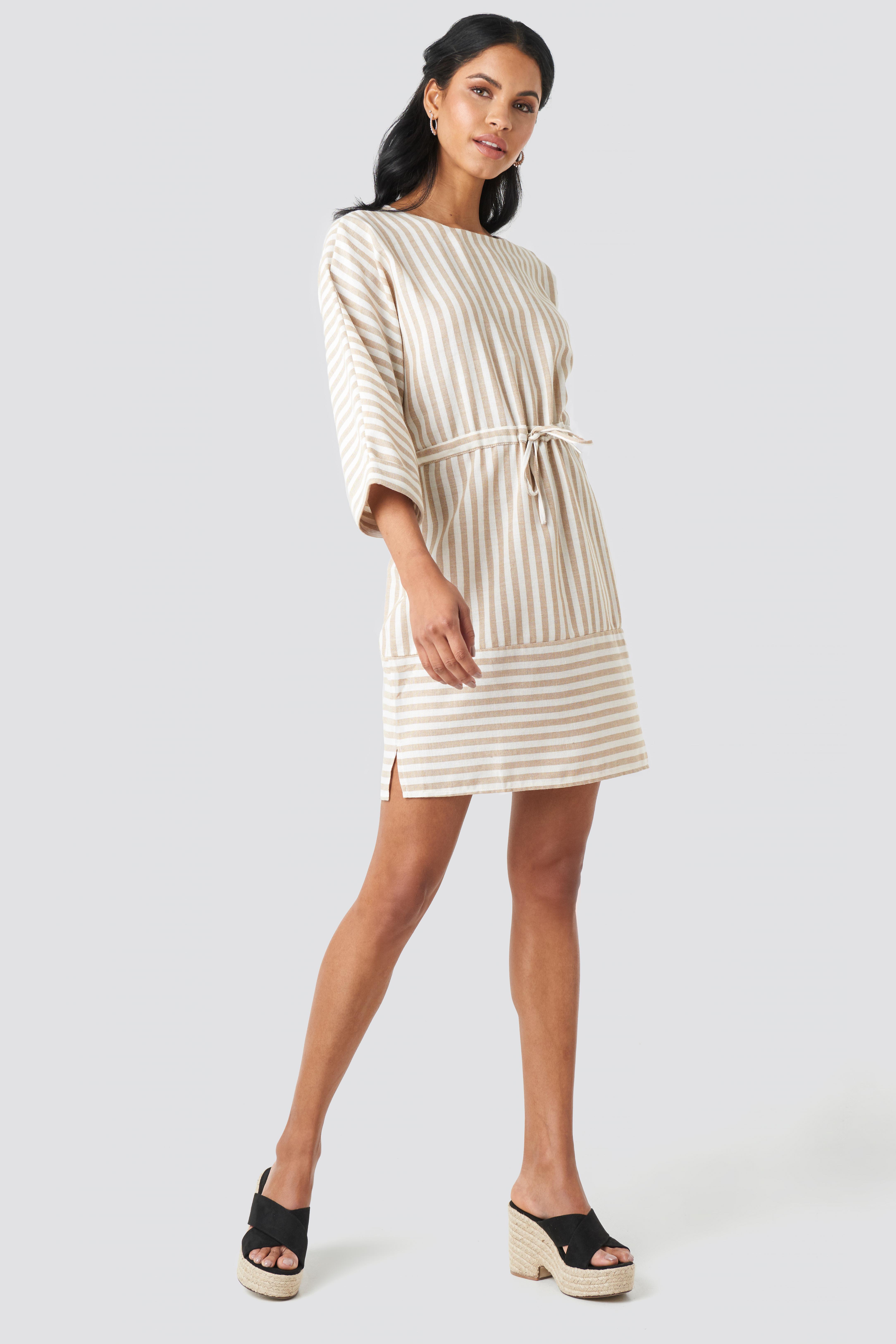 Striped Binding Mini Dress NA-KD.COM