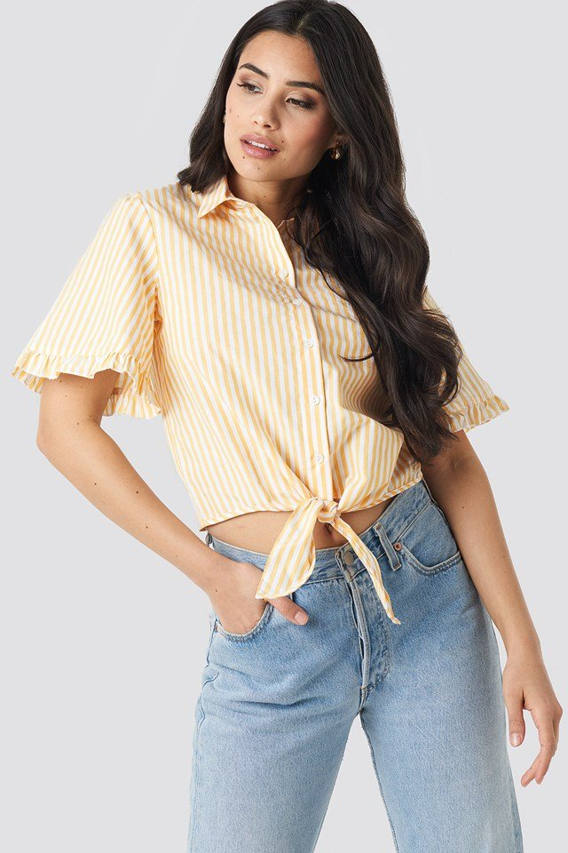 Striped Binding Shirt Yellow