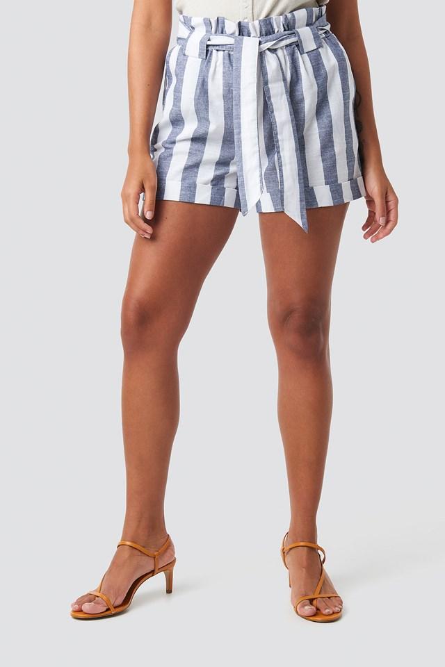 Striped Binding Shorts Blue