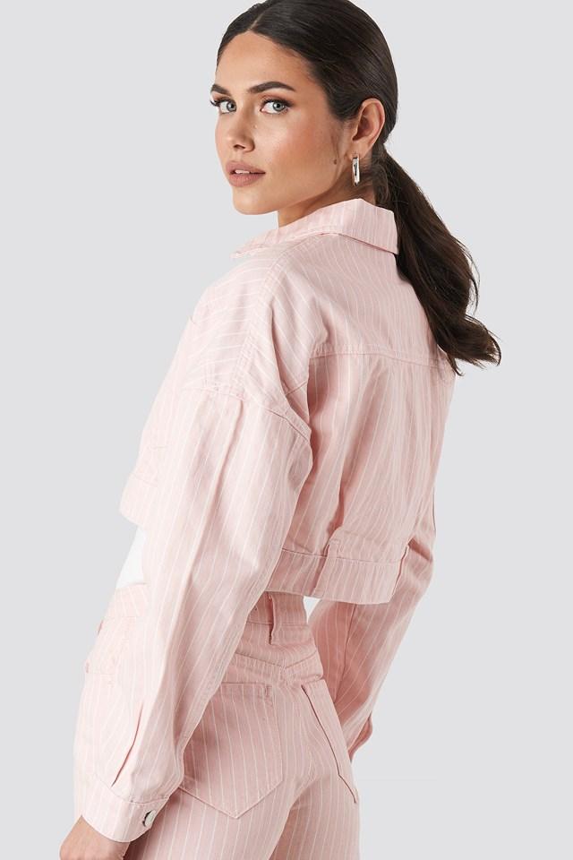 Striped Denim Jacket Pink