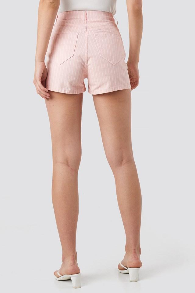 Striped Denim Shorts Pink