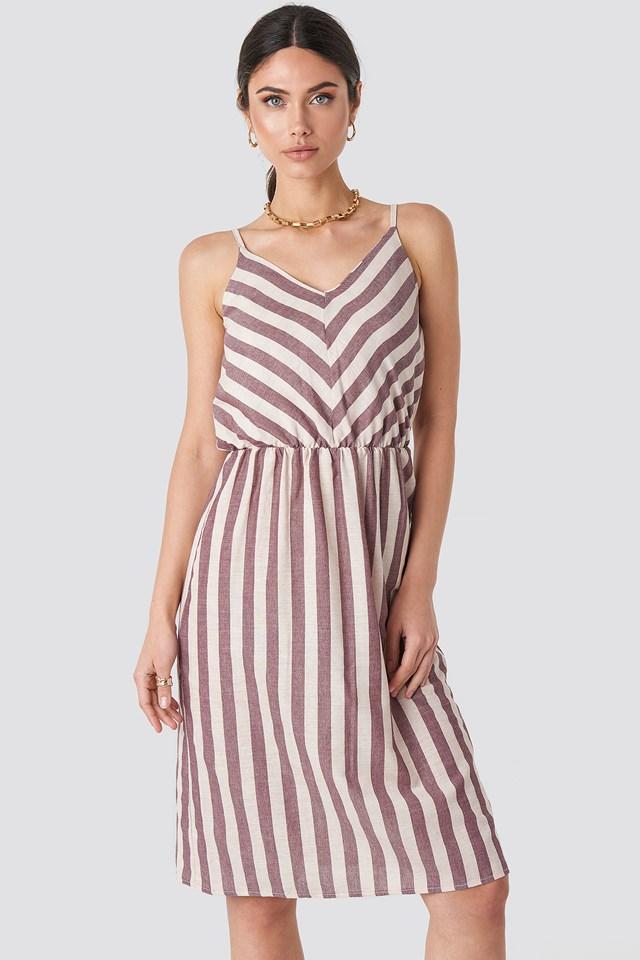 Striped Halter Midi Dress NA-KD.COM