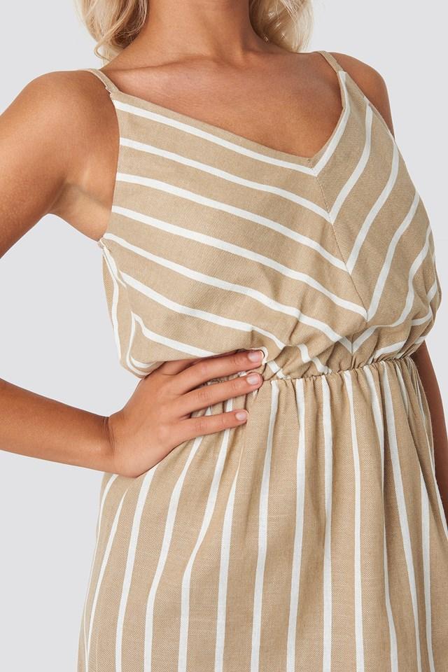 Striped Halter Midi Dress Beige