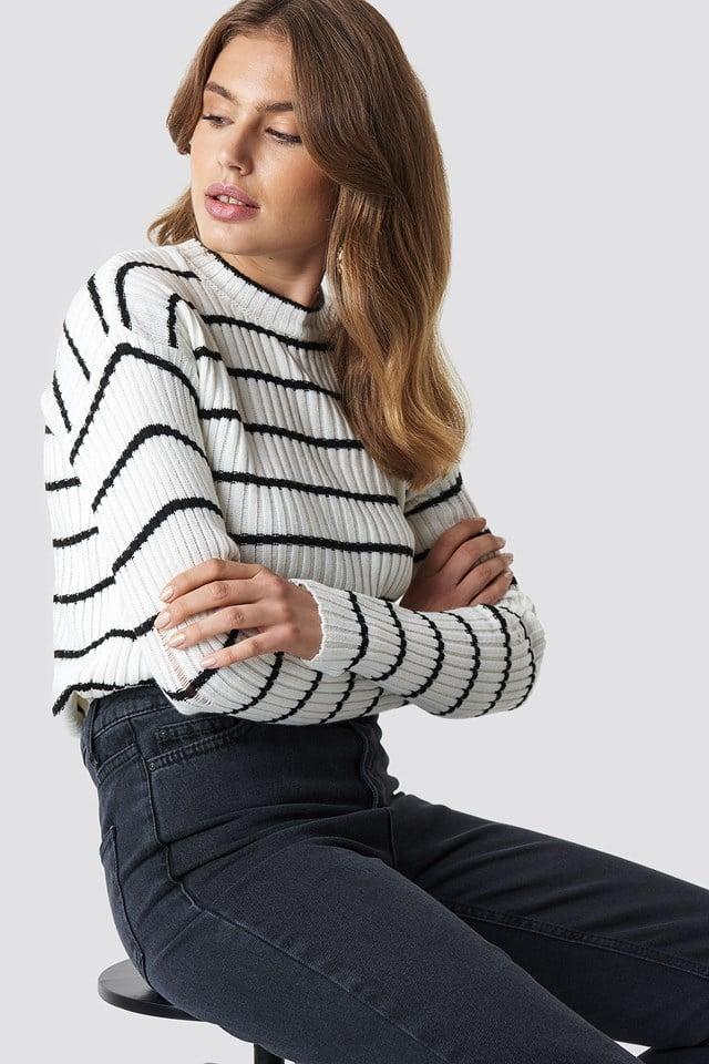 Striped Knitted Sweater Ecru