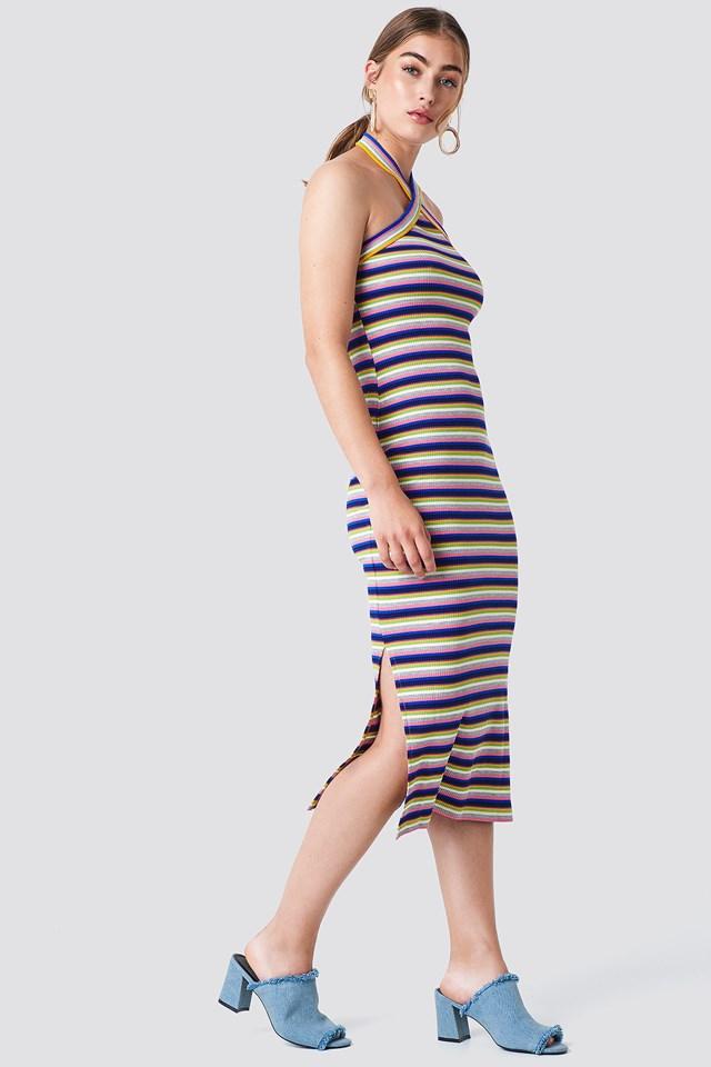 Striped Midi Dress Multicolor