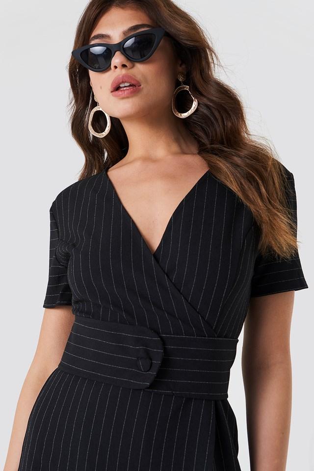 Striped Overlap Playsuit Black