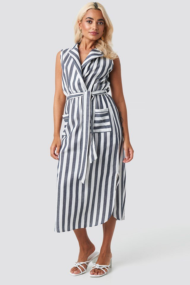 Striped Pocket Detailed Midi Dress Multicolor