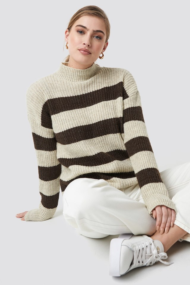 Striped Polo Neck Sweater Brown