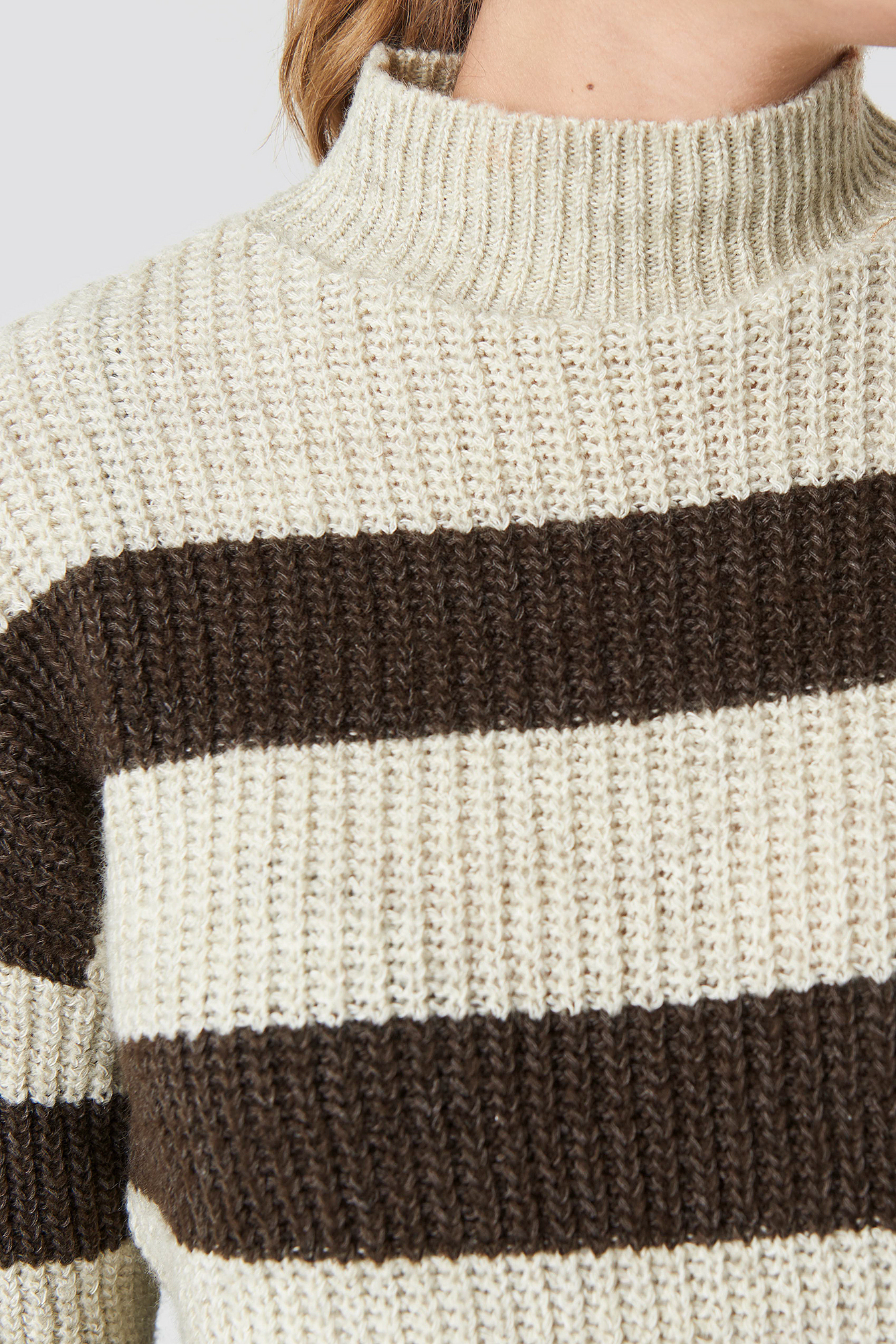 Striped Polo Neck Sweater NA-KD.COM