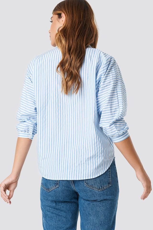 Striped Quarter Sleeve Shirt Blue