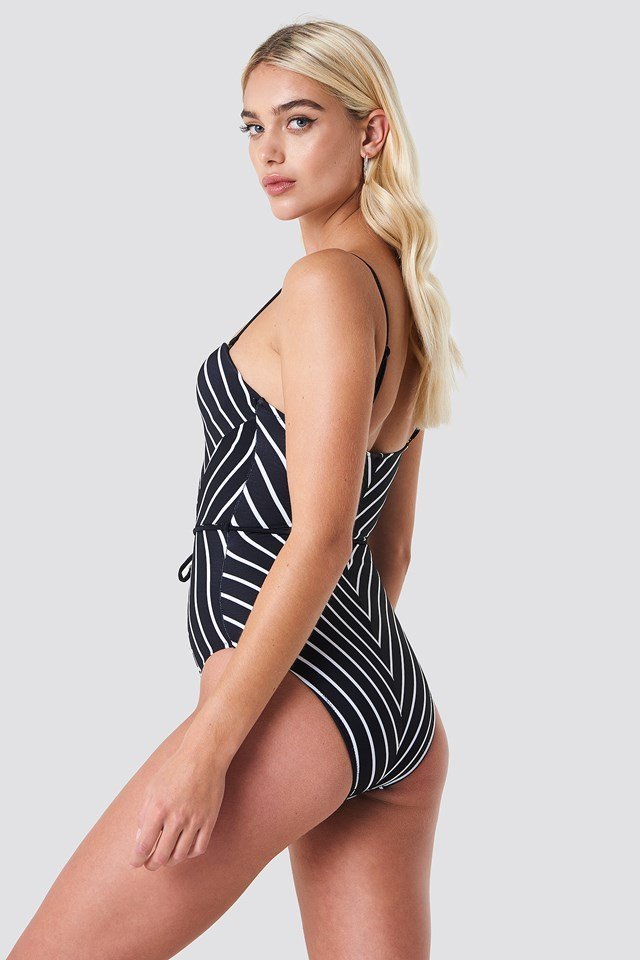 Striped Swimsuit Black