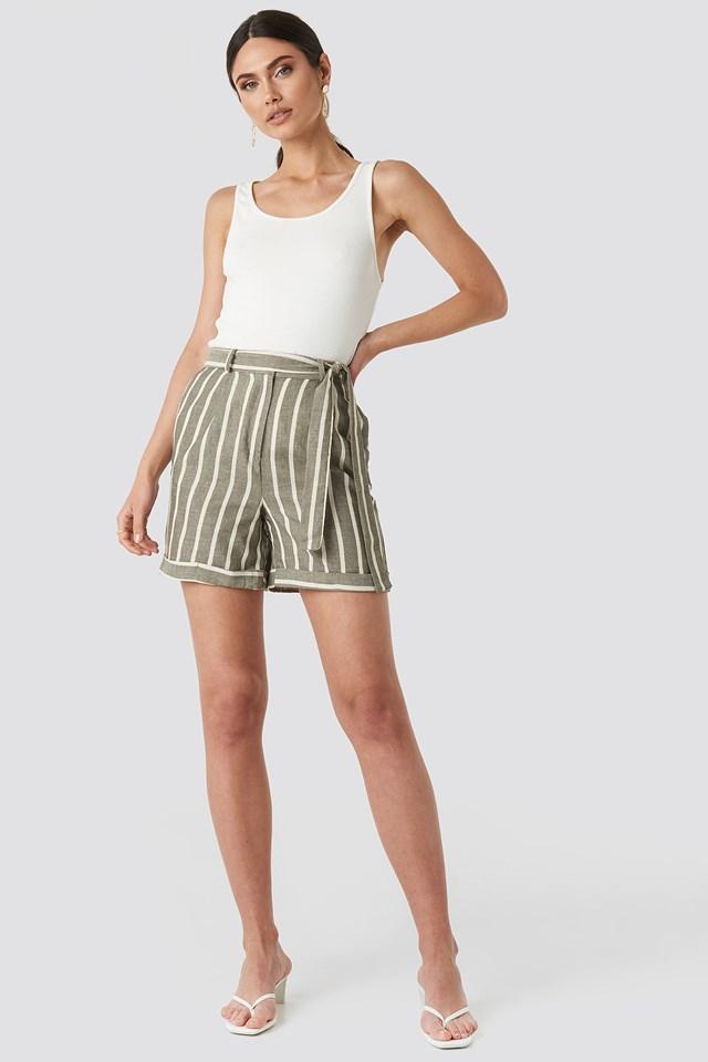Striped Tulum Linen Shorts Green