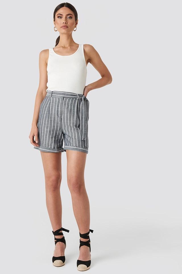 Striped Tulum Linen Shorts Indigo