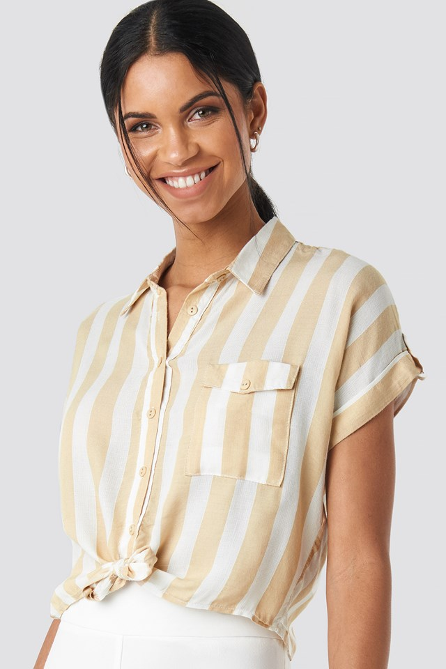 Striped Tulum Shirt Beige