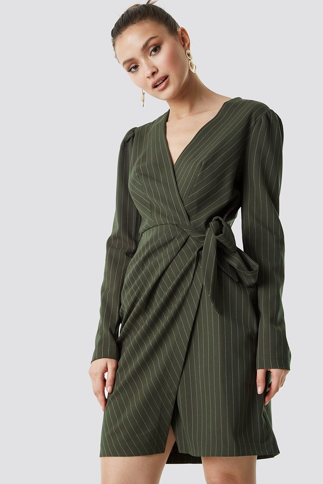 Striped Wrapped Midi Dress Khaki