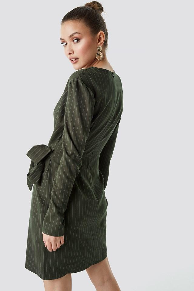 Striped Wrapped Midi Dress Khaki