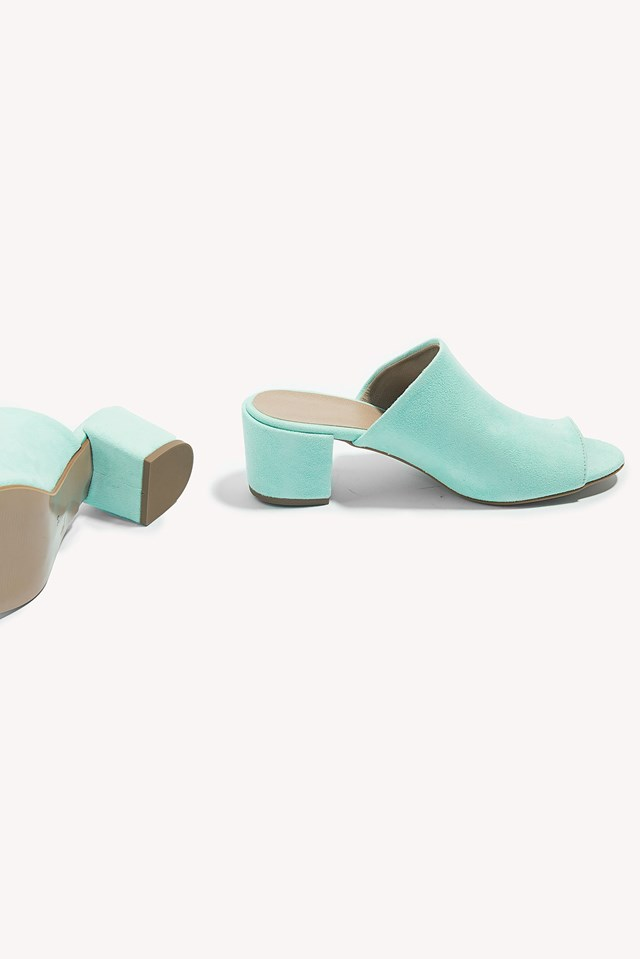 Suede Mules Turquoise