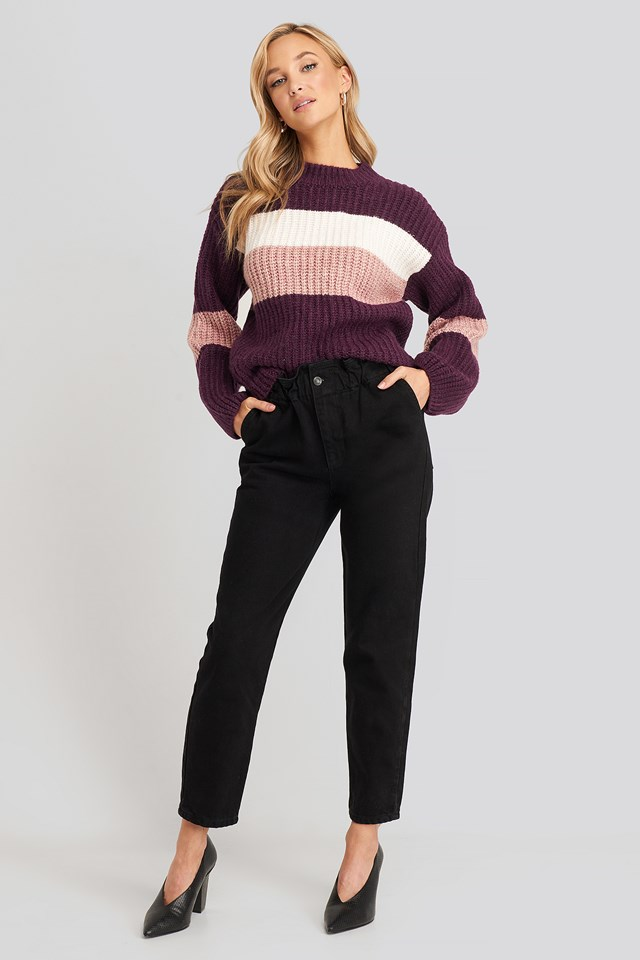 Super High Waist Mom Jeans Black