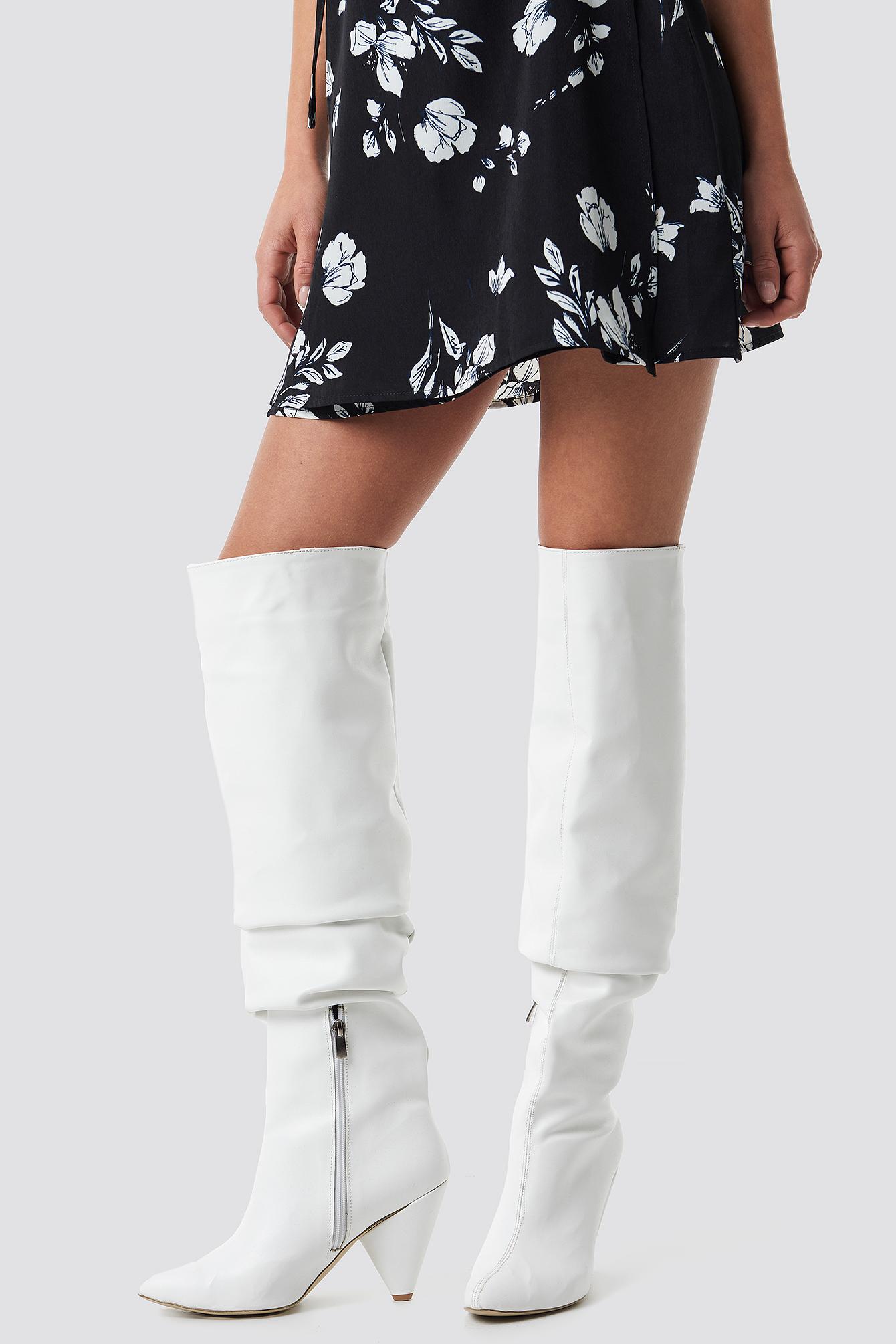TRENDYOL Taka Women Knee Boots - White